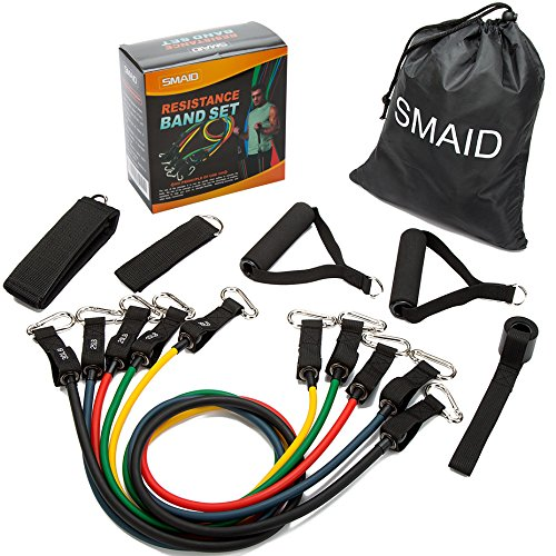 79e27ef4a41e SMAID Resistance Band Set - Include 5 Stackable Exercise Bands with ...